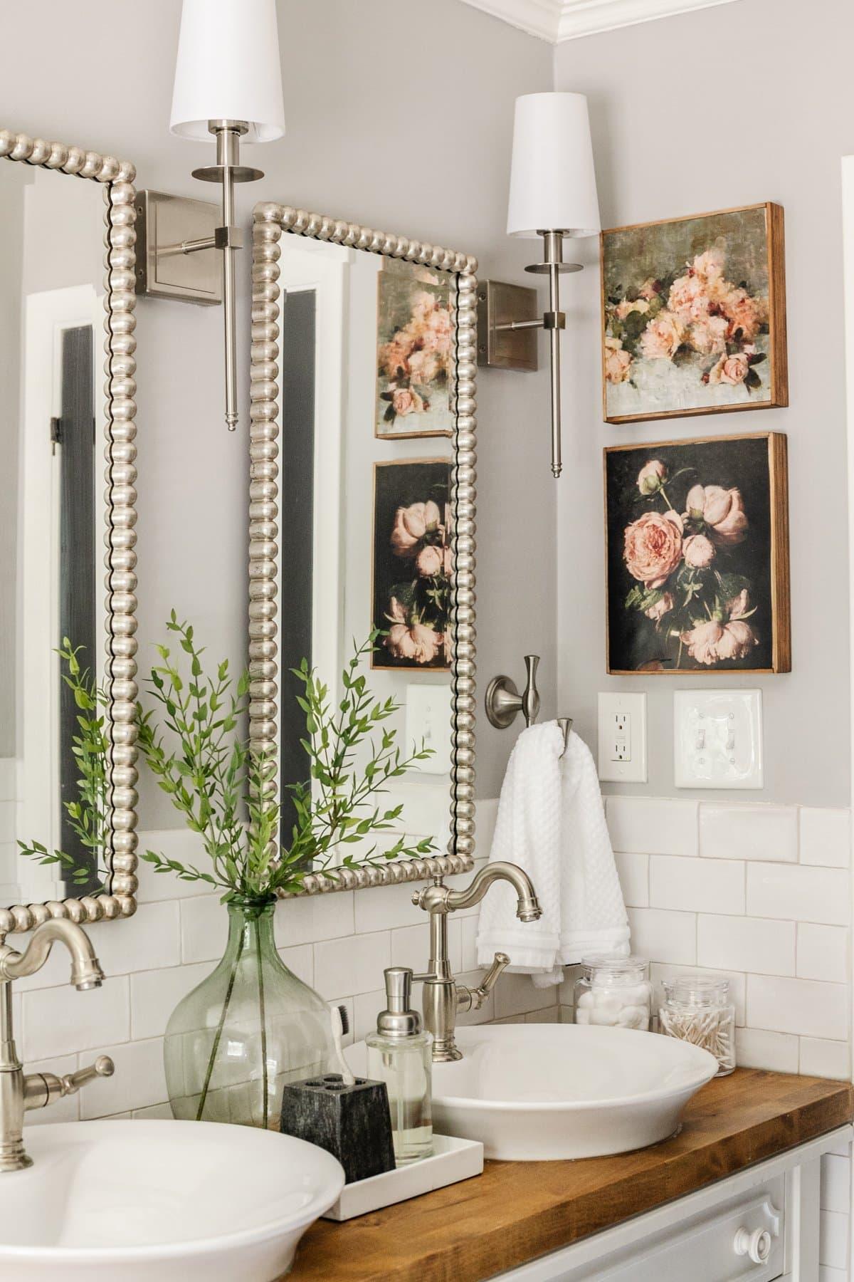 DIY canvas frame vintage art in a bathroom