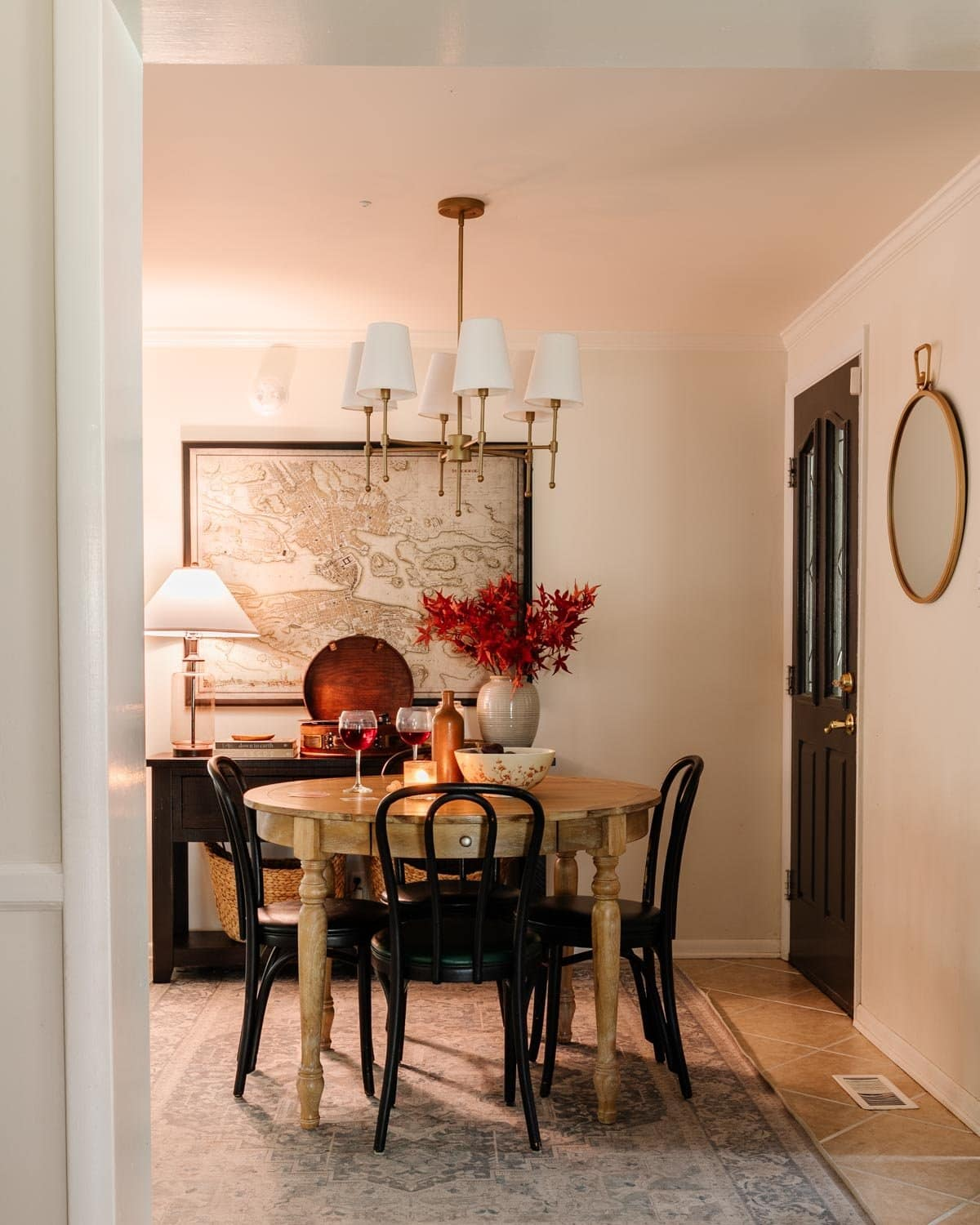 cozy dining room decorated for fall