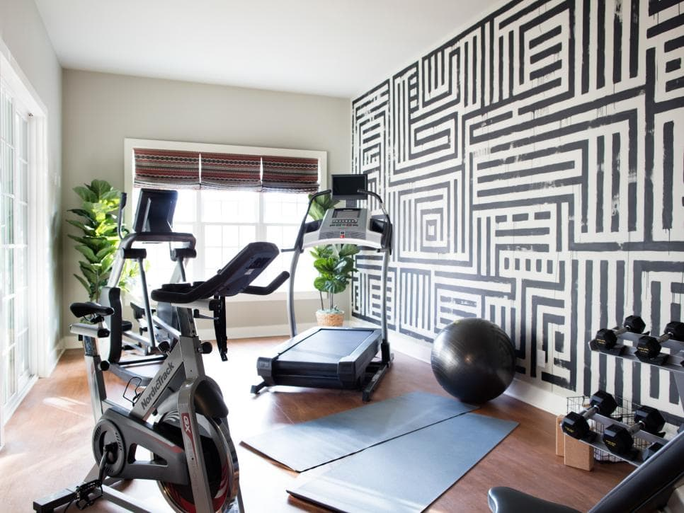 workout room with focal wall
