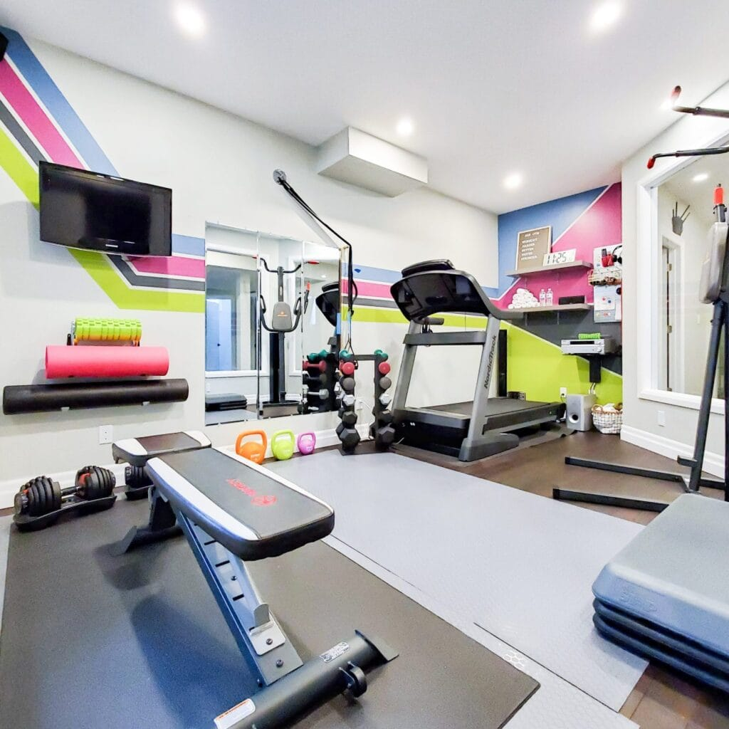 home gym with bright colored accents