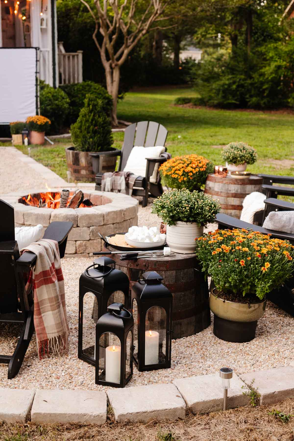 outdoor fall decor - plant garden mums in mismatched planters