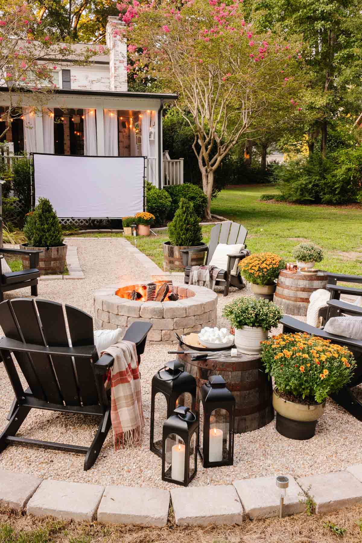 DIY fire pit with outdoor fall decor for a cozy backyard party