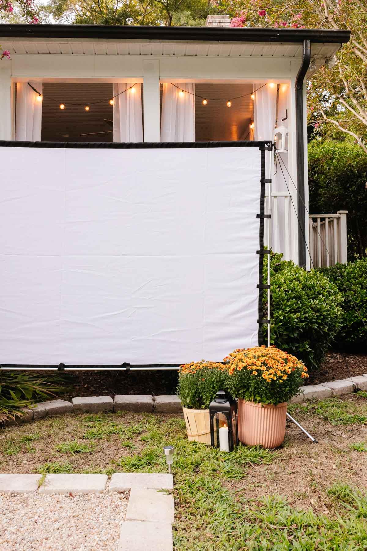 outdoor fall decor - garden mums and lanterns around outdoor movie screen for backyard party