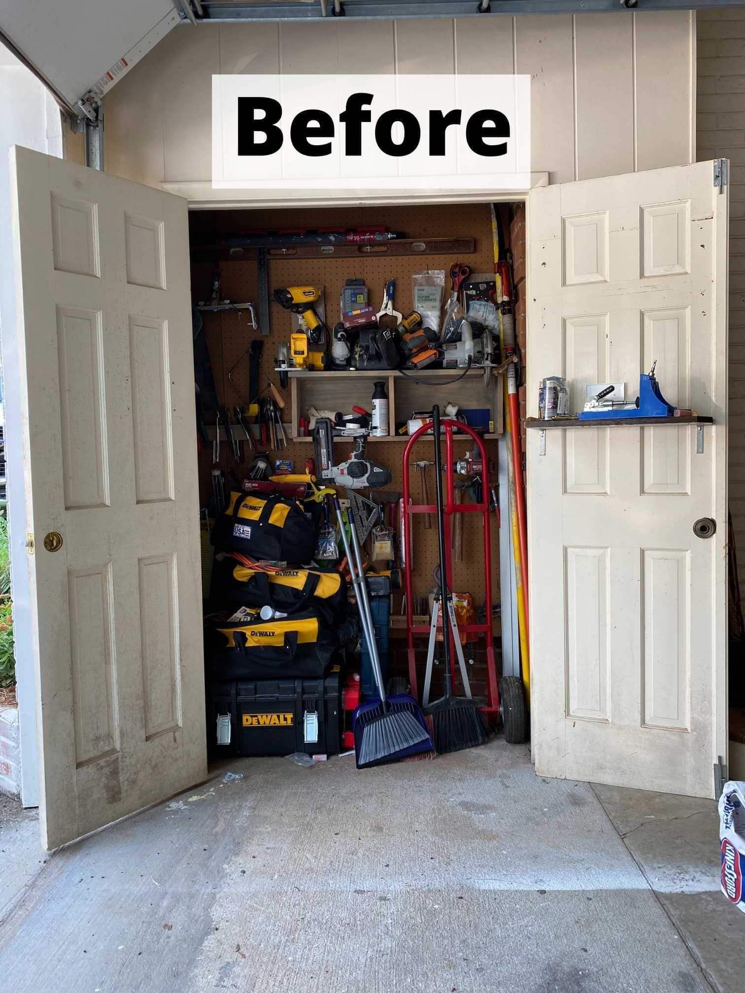 garage storage closet before