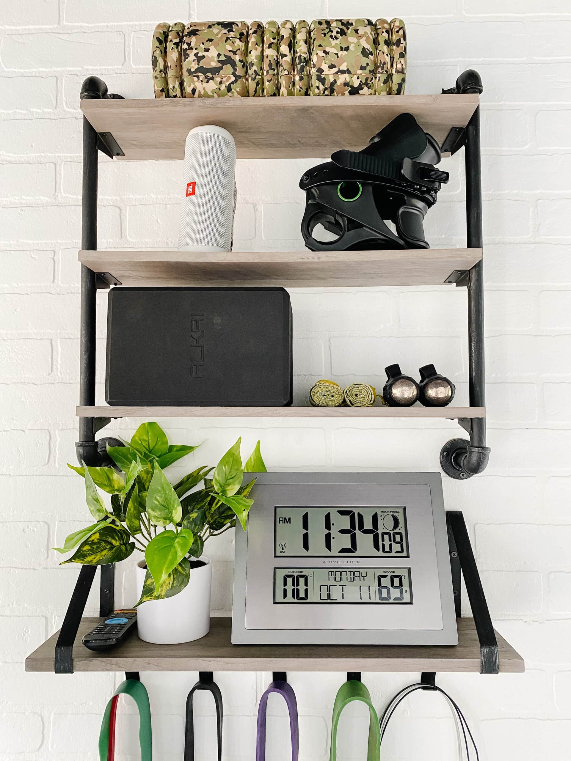 wall shelves for storing small gym equipment