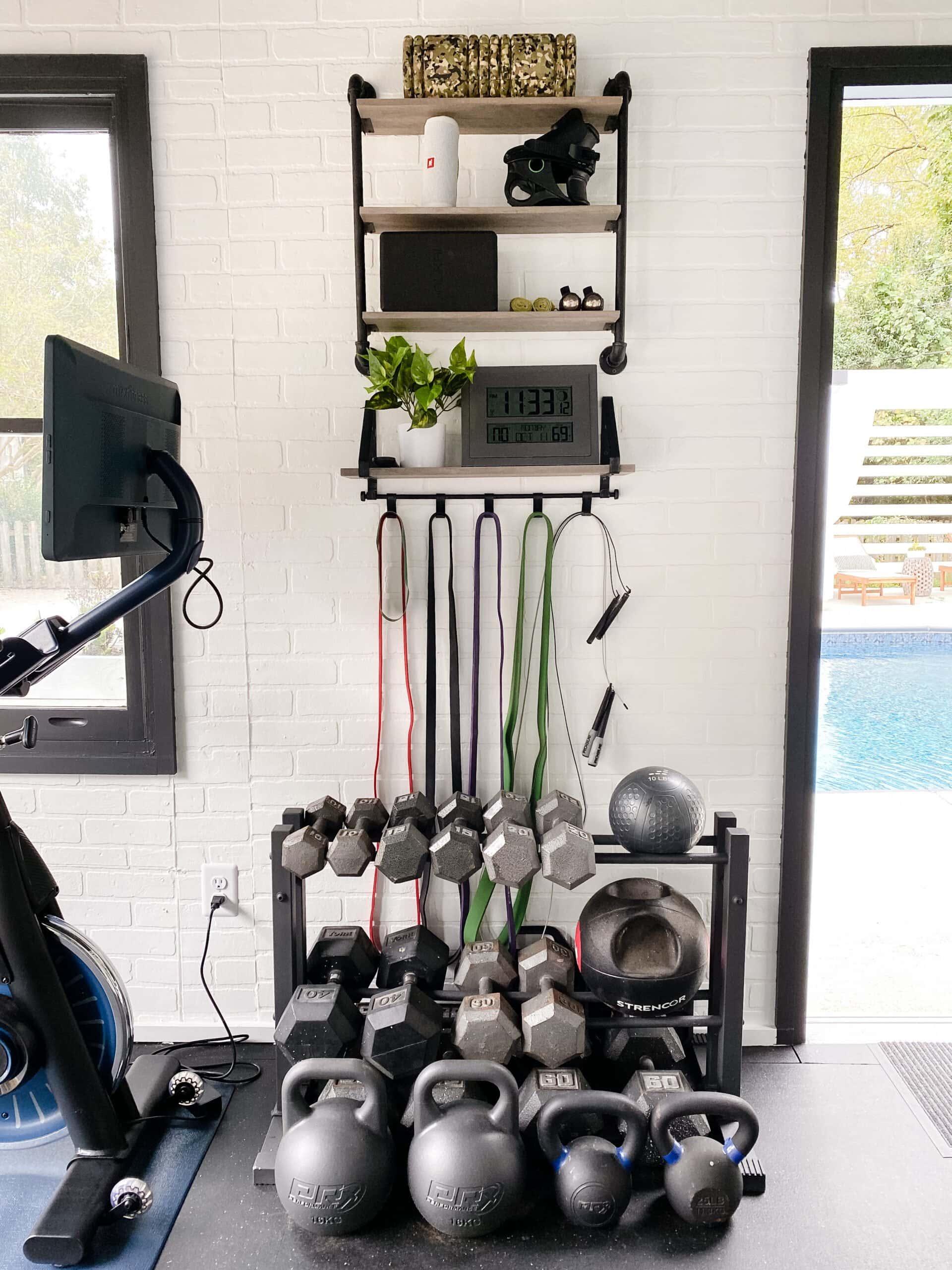 wall shelves for storing home gym equipment