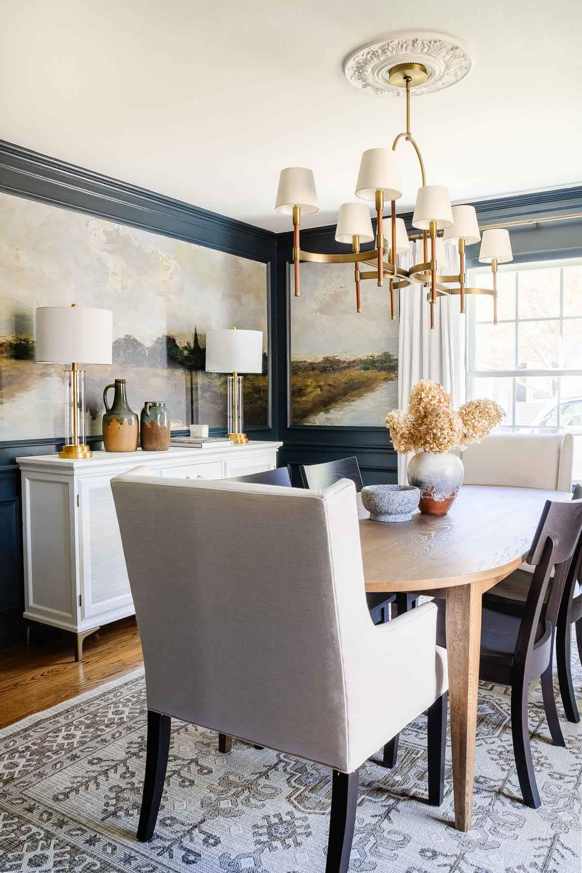 modern classic dining room with scenic peel and stick mural wallpaper