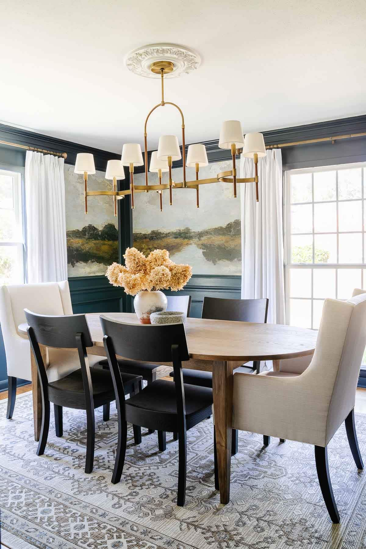 navy blue dining room with antique painting peel and stick mural wallpaper